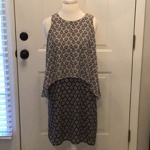 Skies are Blue 2 Color Cream Black Print Dress (A)